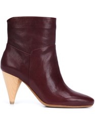 Derek Lam 10 Crosby Cone Heel Booties Red