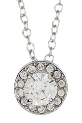 Ariella Collection Halo Pendant Necklace Blue