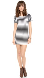 L'america Eazy Peazy Tee Dress Black White Stripe