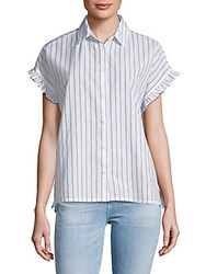 Beach Lunch Lounge Pancho Striped Cotton Button Down Shirt Sky
