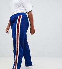 Asos Design Curve Track Pants With Studded Side Tape Green