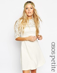 Asos Petite Skater Dress With High Neck And Mixed Lace Inserts Cream