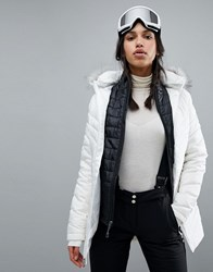 Spyder Timeless Long Faux Fur Ski Jacket White