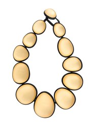Monies Two Tone Oversized Bead Necklace Gold