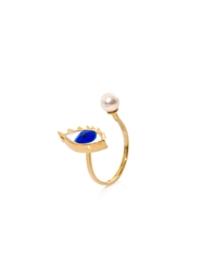 Delfina Delettrez Gold Pearl And Enamel Eye Ring