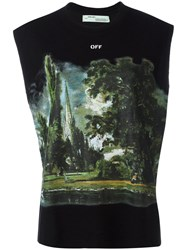 Off White 'Woman' Graphic Print Tank Top Women Silk Cotton Viscose Xs Black