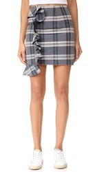Viva Aviva Mini Plaid Ruffled Skirt Grey Navy White Plaid