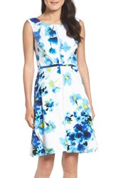 Adrianna Papell Women's Floral Print With Mesh Inset Fit And Flare Dress
