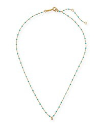 Tai Enamel Necklace W Cubic Zirconia And Beads Gold