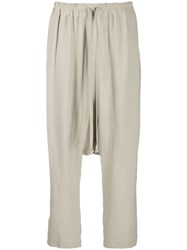 Rick Owens Drop Crotch Cropped Trousers Neutrals