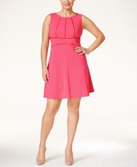 Love Squared Plus Size Peforated Trim Sleeveless A Line Dress Coral