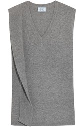 Prada Draped Wool And Cashmere Blend Sweater Gray