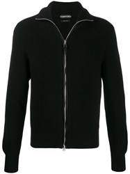 Tom Ford Full Zip Cable Knit Sweater Black