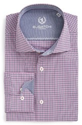 Bugatchi Men's Big And Tall Trim Fit Check Dress Shirt Plum