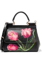 Dolce And Gabbana Sicily Small Floral Print Textured Leather Shoulder Bag Black