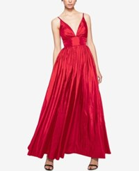 Fame And Partners V Neck Dress With Full Skirt Cherry Red