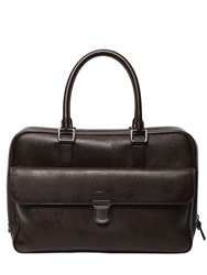 Giorgio Armani Saffiano Embossed Leather Briefcase Brown