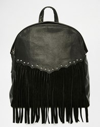 Asos Leather Western Backpack Black