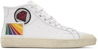 Saint Laurent White Diamond Sl 37M Surf Court Classic Mid Top Sneakers