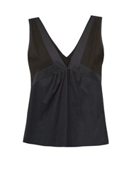 Rossell England Sheer Panelled Cotton Camisole Black