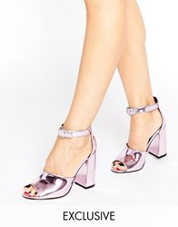 Office Stella Pink Mirror Flare Heeled Sandals Pink Mirror Pu