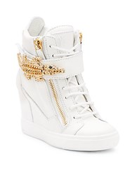 Giuseppe Zanotti Alligator Detail Leather Zip Wedge Sneakers Bianco