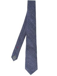 Brunello Cucinelli Stylised Check Tie Blue