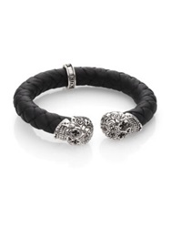 King Baby Studio Leather And Sterling Silver Skull Bracelet Black Silver
