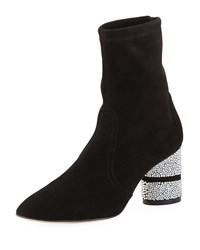 Stuart Weitzman Flash Sock 75Mm Booties W Crystal Heel Black