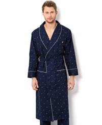 Nautica Men's Signature Woven Shawl Collar Robe Maritime Navy