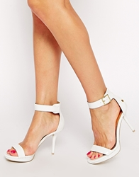 Blink White Patent Barely There Heeled Sandals