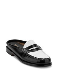 G.H. Bass Wynn Iconic Patent Leather Penny Mules Black White
