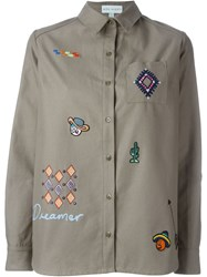 Mira Mikati Patch Detail Wide Fit Button Down Shirt Green