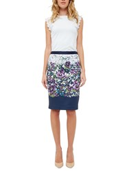 Ted Baker Carpi Entangled Enchantment Pencil Skirt Dark Blue