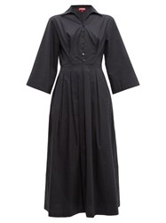 Staud Pleated Skirt Cotton Blend Poplin Shirtdress Black