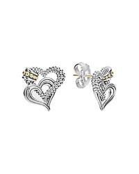 Lagos 18K Gold And Sterling Silver Beloved Double Heart Stud Earrings Silver Gold