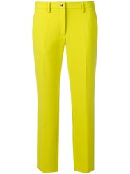 Versace Collection Cropped Slim Fit Trousers Yellow