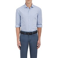 Barneys New York Checked Cotton Dress Shirt Blue