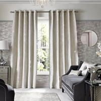 Kylie Minogue At Home Grazia Lined Eyelet Curtains Oyster White