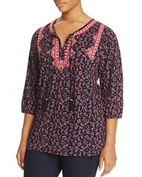Lucky Brand Plus Embroidered Ditsy Floral Peasant Blouse Black Multi