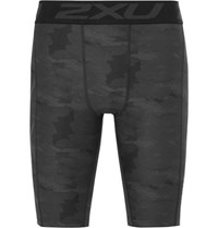 2Xu Accelerate Printed Compression Shorts Charcoal