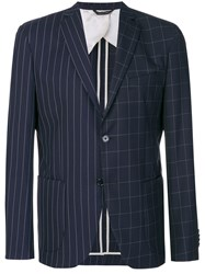 Lc23 Contrast Stripe And Check Detail Blazer Blue
