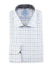 English Laundry Windowpane Check Woven Dress Shirt Gray Blue