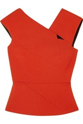 Roland Mouret Florence Cutout Wool Crepe Top Orange