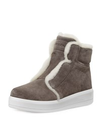 Prada Linea Rossa Shearling Fur Lined Ankle Boot Gray