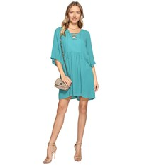 Bb Dakota Becton Lace Up Dress Jade Green Women's Dress