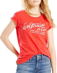 Levi's Wordmark Flame Short Sleeve Tee Red