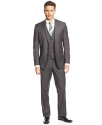 Kenneth Cole Reaction Charcoal Mini Stripe Vested Slim Fit Suit