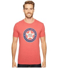 Life Is Good Positive Lifestyle Cool Tee Americana Red Men's T Shirt