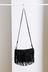Ecote Crescent Fringe Bag Black